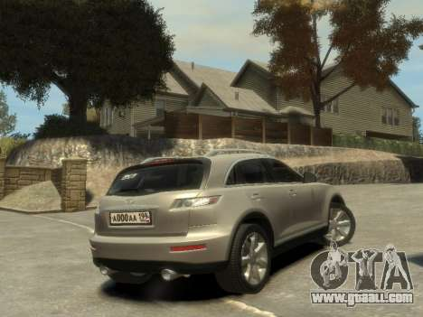 Infiniti FX45 2008 for GTA 4 back view