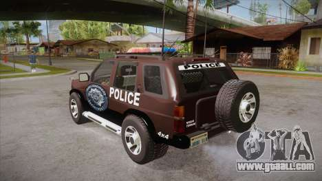 Nissan Terrano RB26DETT Police for GTA San Andreas back left view
