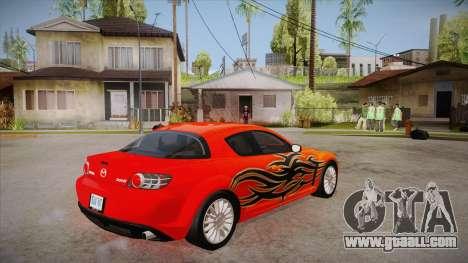 Mazda RX8 Tunnable for GTA San Andreas right view
