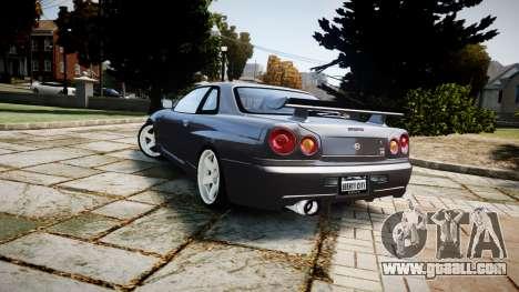 Nissan Skyline GTR-34 v1.0 for GTA 4 back view