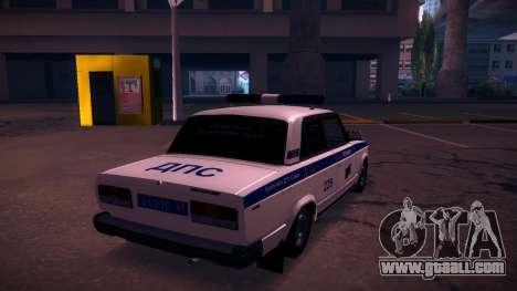Vaz 2107 Police DPS for GTA San Andreas back left view