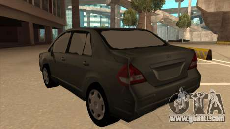 Nissan Tiida sedan for GTA San Andreas back view