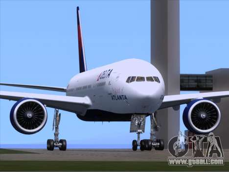 Boeing 777-200ER Delta Air Lines for GTA San Andreas back left view