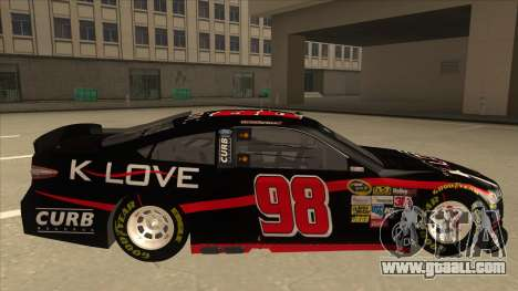 Ford Fusion NASCAR No. 98 K-LOVE for GTA San Andreas back left view