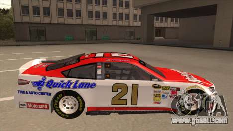 Ford Fusion NASCAR No. 21 Motorcraft Quick Lane for GTA San Andreas back left view