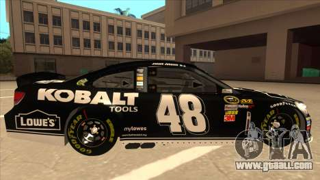 Chevrolet SS NASCAR No. 48 Kobalt Tools for GTA San Andreas back left view