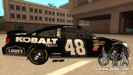 Chevrolet SS NASCAR No. 48 Kobalt Tools for GTA San Andreas back left view
