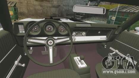 Oldsmobile Cutlass Hurst 442 1969 v2 for GTA 4 inner view