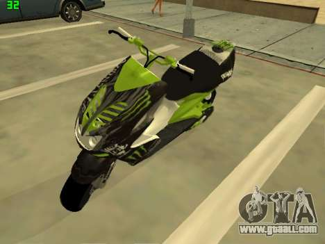 Yamaha Aerox for GTA San Andreas back left view
