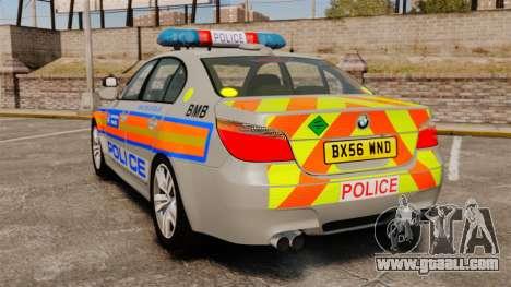 BMW M5 E60 Metropolitan Police 2006 ARV [ELS] for GTA 4 back left view