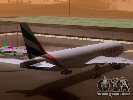 Boeing 777-21HLR Emirates for GTA San Andreas back view