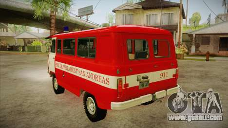 UAZ 452 Firefighter headquarters SA for GTA San Andreas back left view