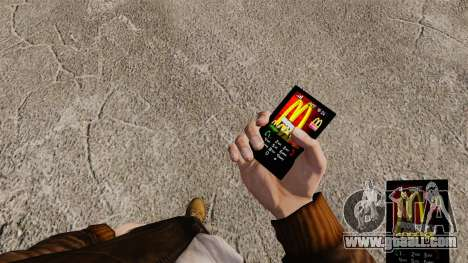 Themes for phone fast-food brands for GTA 4 third screenshot