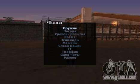 Cheat Menu English version for GTA San Andreas