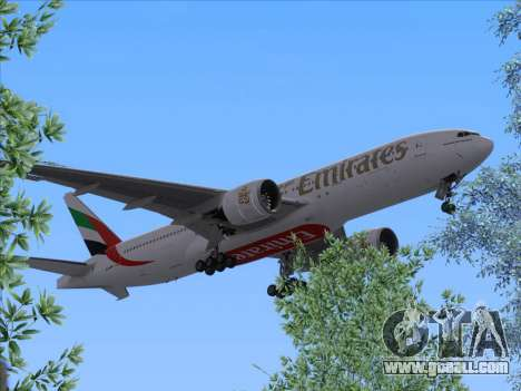 Boeing 777-21HLR Emirates for GTA San Andreas back left view