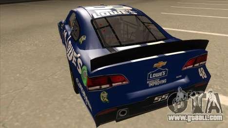 Chevrolet SS NASCAR No. 48 Lowes blue for GTA San Andreas back view
