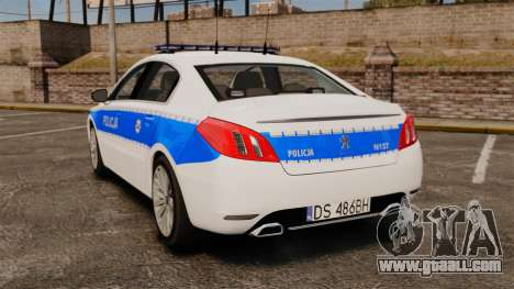 Peugeot 508 Polish Police [ELS] for GTA 4 back left view