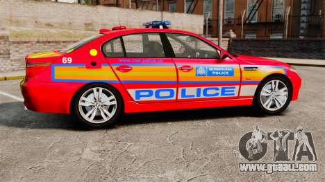 BMW M5 E60 Metropolitan Police 2010 ARV [ELS] for GTA 4 left view