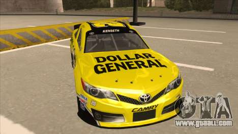 Toyota Camry NASCAR No. 20 Dollar General for GTA San Andreas left view