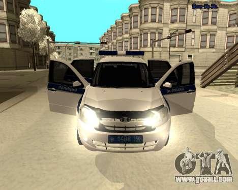 Lada Granta 2190 Police v 2.0 for GTA San Andreas inner view