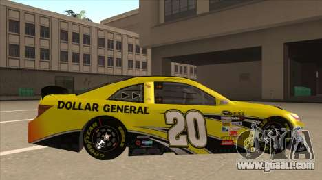 Toyota Camry NASCAR No. 20 Dollar General for GTA San Andreas back left view