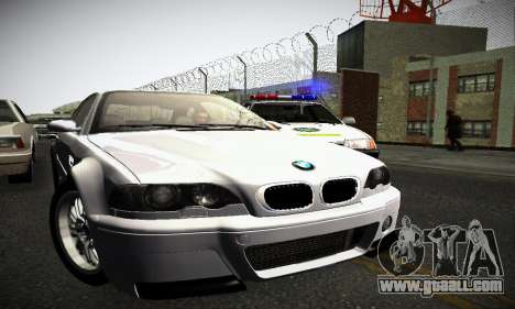 BMW E46 M3 CSL for GTA San Andreas back left view