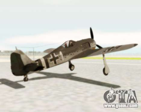 Focke-Wulf FW-190 A5 for GTA San Andreas back left view