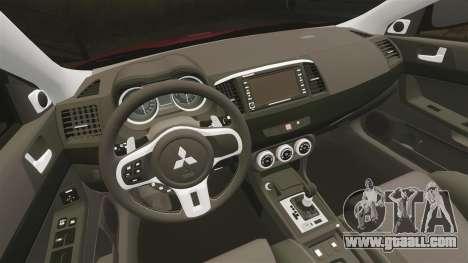 Mitsubishi Lancer Evolution X GSR 2008 for GTA 4 inner view