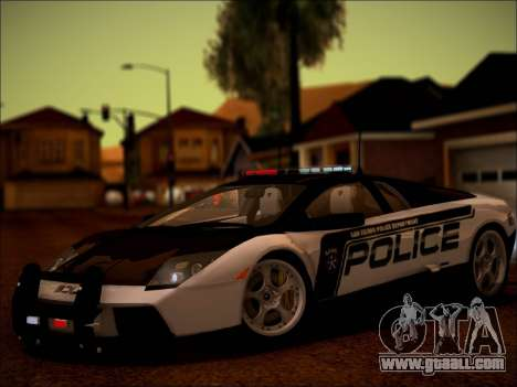 Lamborghini Murciélago Police 2005 for GTA San Andreas back view