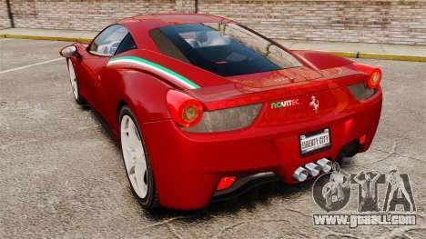 Ferrari 458 Italia 2010 Novitec for GTA 4 back left view