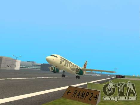 Airbus A319-111 Frontier Airlines Red Foxy for GTA San Andreas upper view