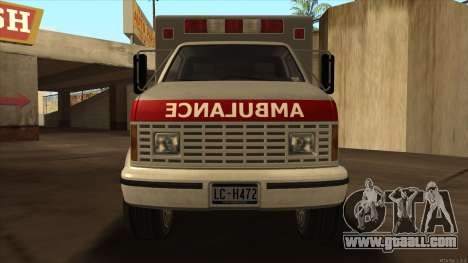 Ambulance HD from GTA 3 for GTA San Andreas back left view
