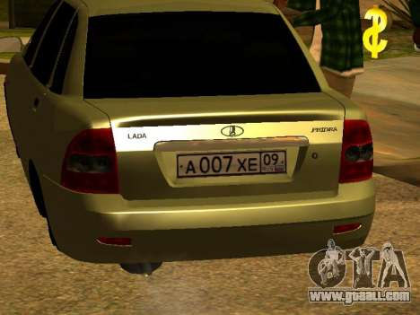 Lada 2170 Priora Gold for GTA San Andreas back view