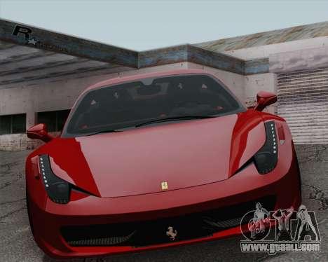 Ferrari 458 Italia 2010 for GTA San Andreas inner view