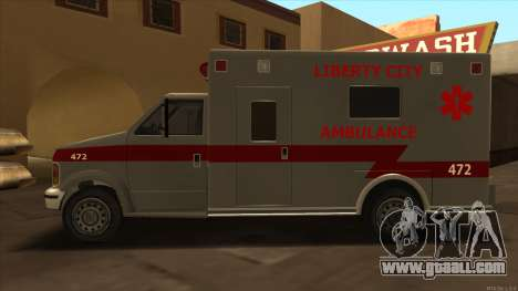 Ambulance HD from GTA 3 for GTA San Andreas left view