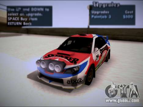 Subaru Impreza WRX STI WRC for GTA San Andreas inner view