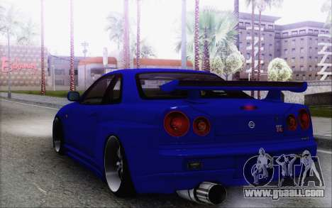 Nissan Skyline GT-R34 for GTA San Andreas back left view