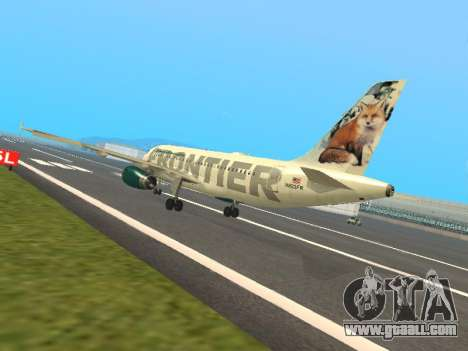 Airbus A319-111 Frontier Airlines Red Foxy for GTA San Andreas back left view