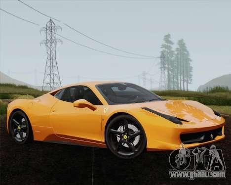 Ferrari 458 Italia 2010 for GTA San Andreas engine