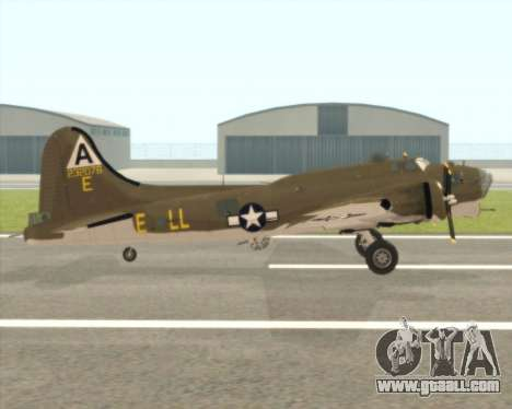 B-17G for GTA San Andreas back left view