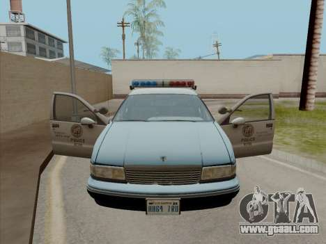 Chevrolet Caprice LAPD 1991 for GTA San Andreas back left view