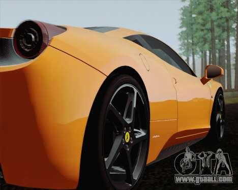 Ferrari 458 Italia 2010 for GTA San Andreas interior