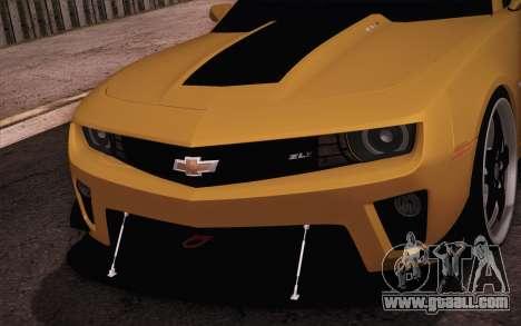 Chevrolet Camaro ZL1 for GTA San Andreas inner view
