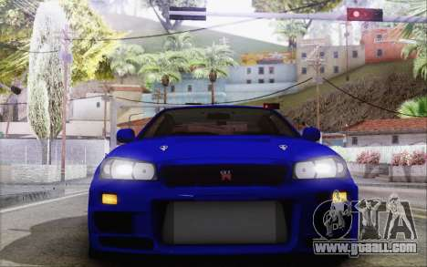 Nissan Skyline GT-R34 for GTA San Andreas inner view