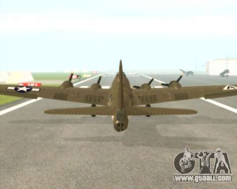 B-17G for GTA San Andreas back view