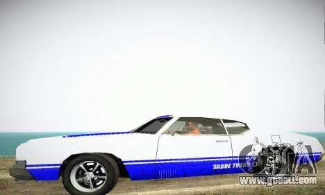 GTA IV Sabre Turbo for GTA San Andreas back left view