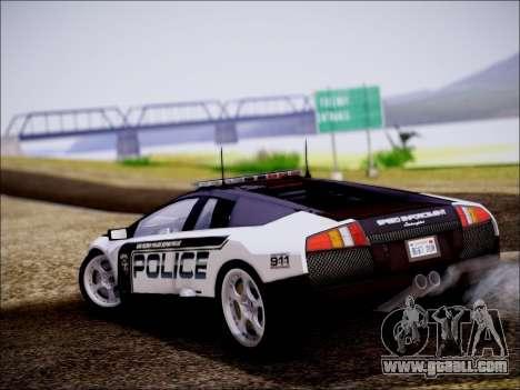 Lamborghini Murciélago Police 2005 for GTA San Andreas back left view
