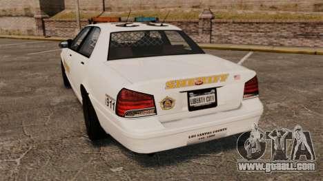 GTA V Police Vapid Cruiser Sheriff for GTA 4 back left view