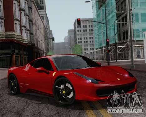 Ferrari 458 Italia 2010 for GTA San Andreas wheels