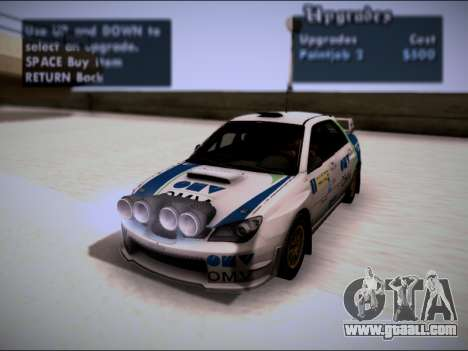 Subaru Impreza WRX STI WRC for GTA San Andreas back view